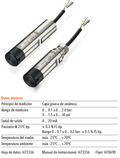 Transmisor de presión sumergible