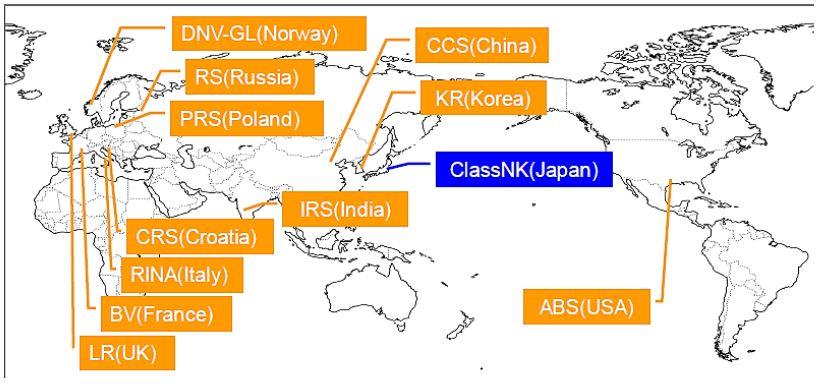 Ubicación de las sociedades de clasificación