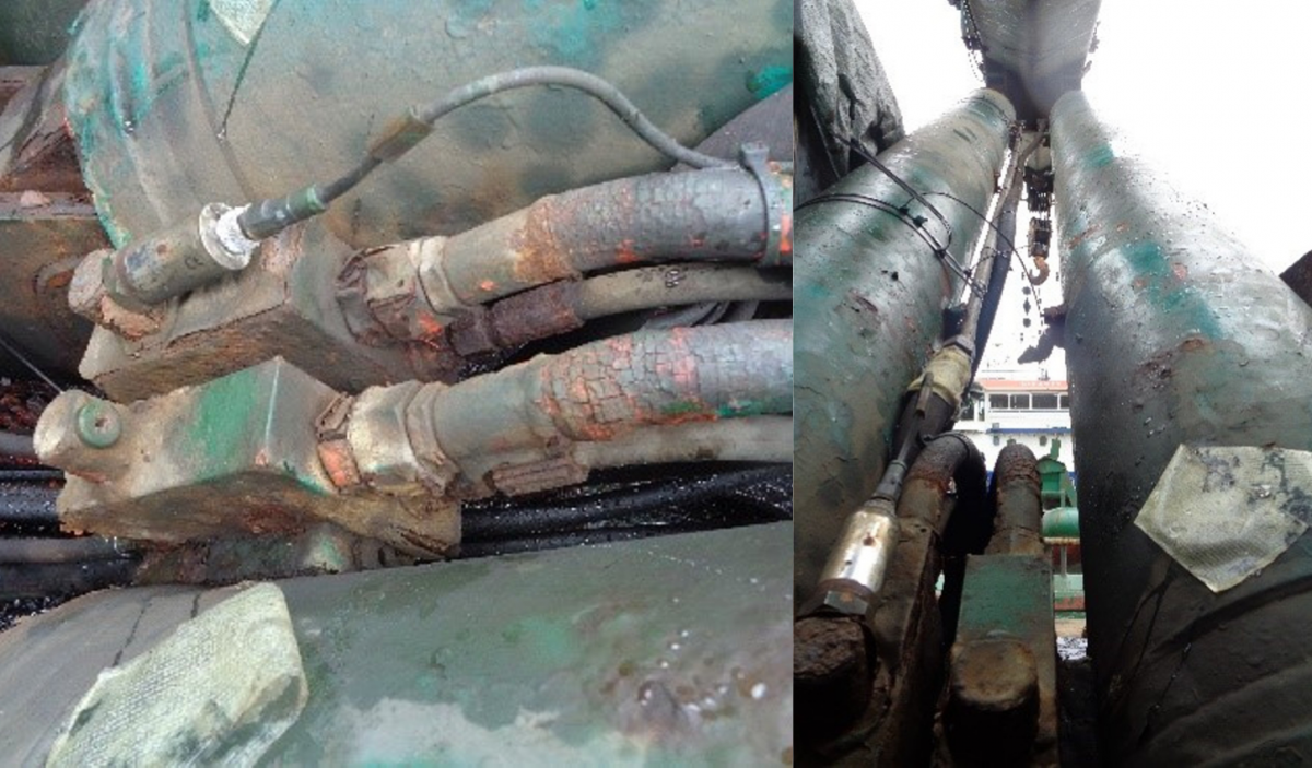 Falta de mantenimiento en válvulas de frenado del brazo de una grúa a bordo de un buque