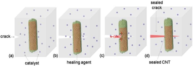 Reparación de una grieta mediante microcápsulas basadas en CNT