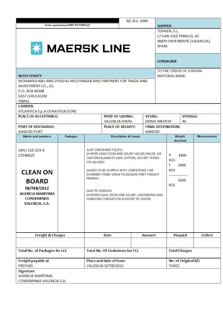 COMBINED TRANSPORT BILL OF LADING