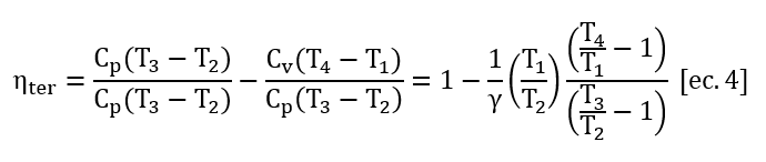 Formula de Rendimiento de una máquina térmica (Calores esp. const.) Reorganizada