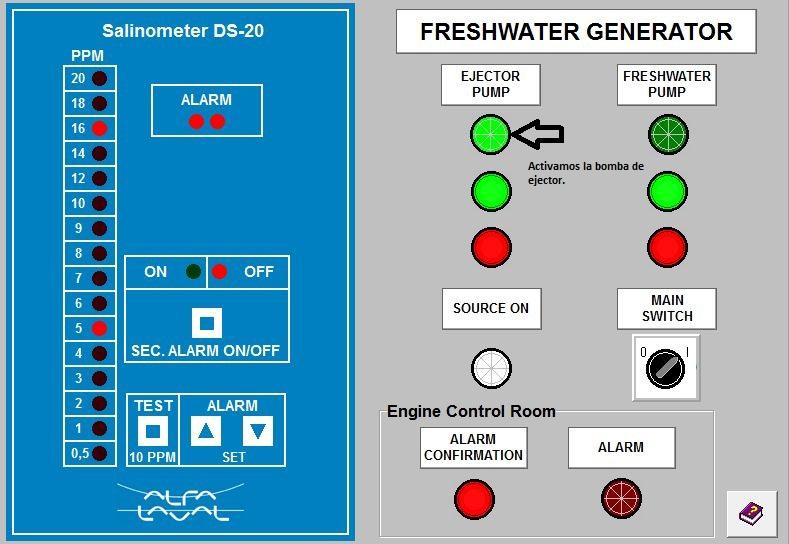 generador paso diagrama encendido con bomba de ejector activada