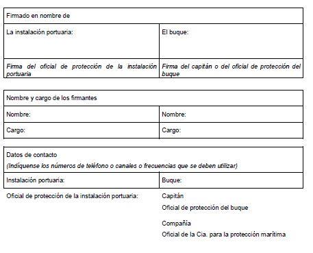 MODELO DE DECLARACIÓN DE PROTECCIÓN MARÍTIMA ENTRE UN BUQUE Y UNA INSTALACIÓN PORTUARIA2