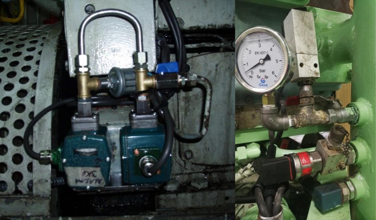 Unidades de vigilancia de presión de aceite; Indicadores y presostatos.